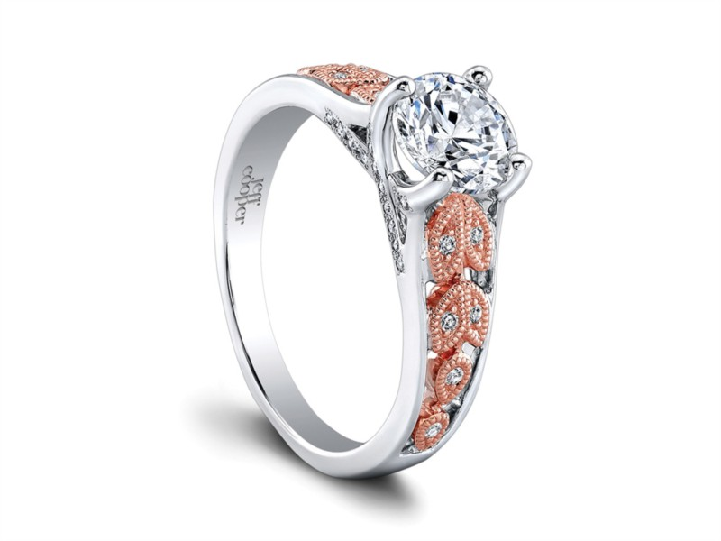 Jeff Cooper | 14K White and Rose Gold Diamond Engagement Ring | Style No. 001-730-01250 RP1635TT/R6.5C