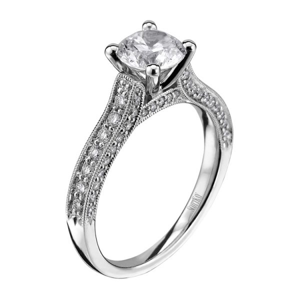Scott Kay Trellis Collection | 14K White Gold Three Sided Pavé Diamond Engagement Ring | Style No. 001-742-004