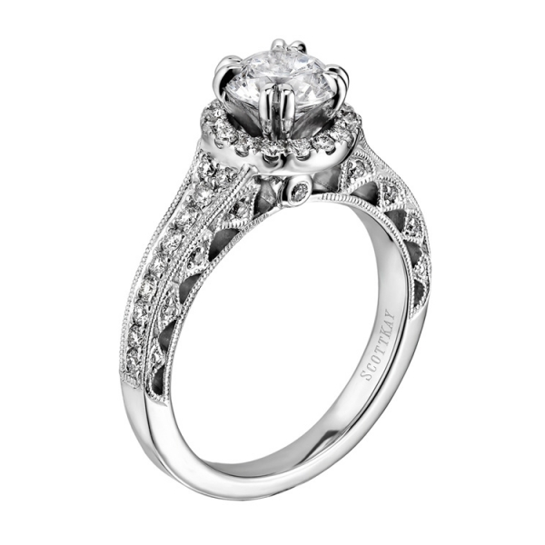 Scott Kay | 14K White Gold Pavé Halo Diamond Setting with Pierced Gallery | Style No. 001-742-00214 M1822R310W