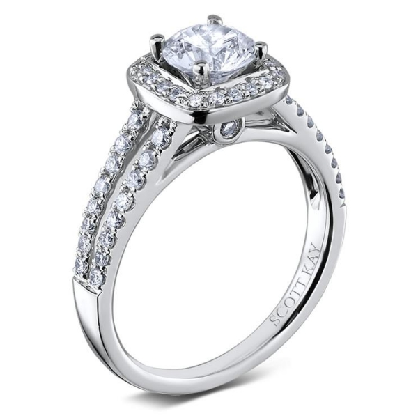 Scott Kay Luminaire Collection | 14K White Gold Split Shank Pavé Halo Diamond Setting | Style No. 001-742-003