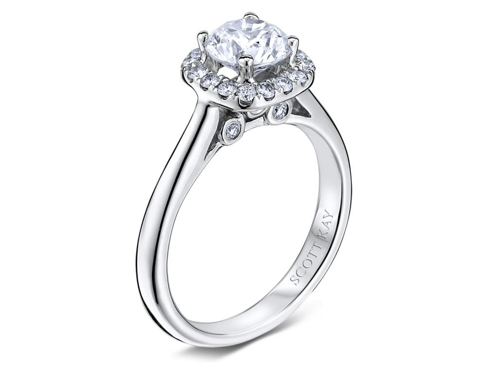 Scott Kay | 14K White Gold Pavé Diamond Halo Ring | Style No. 001-742-00423 M1677R310WW