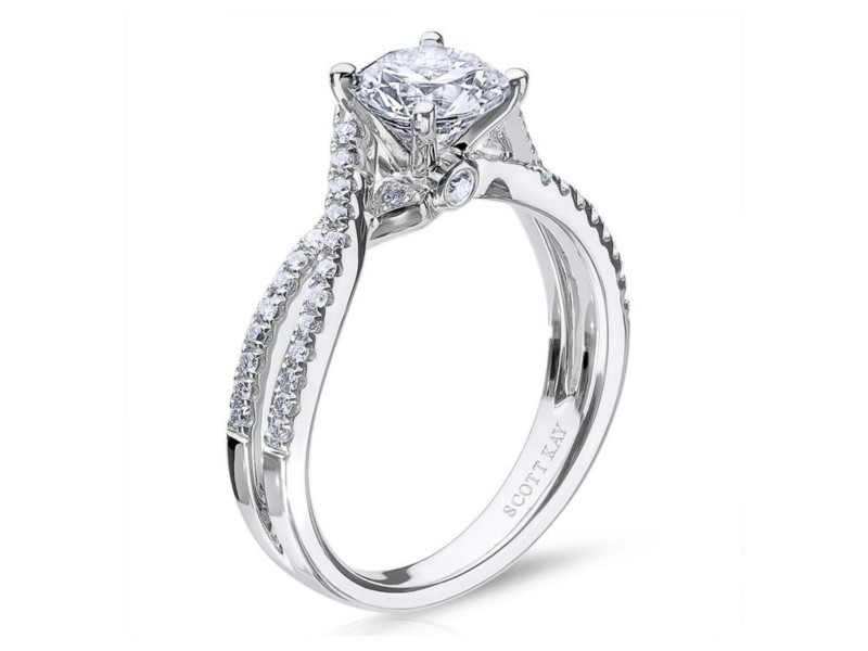 Scott Kay | 14K White Gold Pavé Diamond Ring Setting for Round Center | Style No. 001-742-00293 M1755R310WW