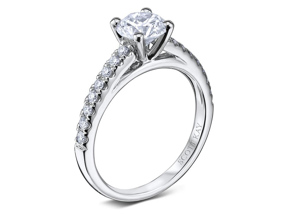 Scott Kay | 14K White Gold Cathedral Diamond Ring Setting | Style No. 001-742-00348 M1592R310WW