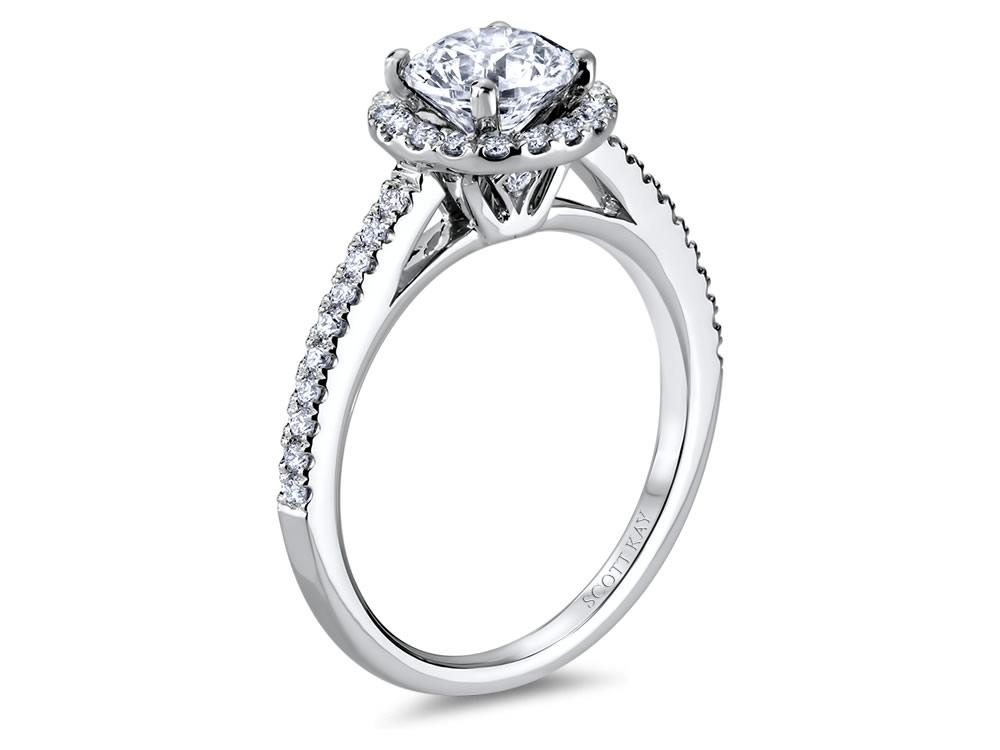 Scott Kay Luminaire Collection | 14K White Gold Diamond Halo Engagement Ring | Style No. 001-742-00367 M2053R510WW
