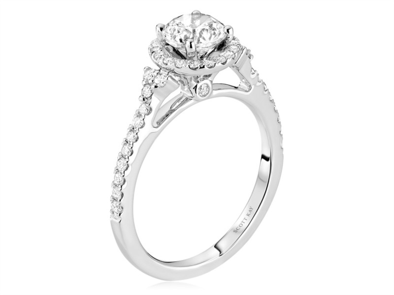 Scott Kay Luminaire Collection | 14K White Gold Pavé Diamond Halo Ring | Style No. 001-742-00370 M2019R507WW