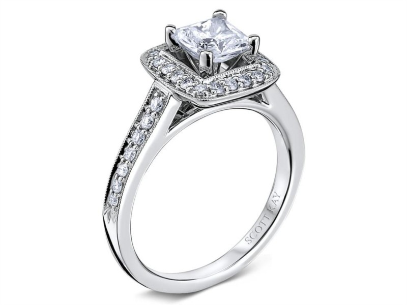 Scott Kay Luminaire Collection | 14K White Gold Princess Diamond Halo Engagement Ring | Style No. 001-742-00549 M1606R310WW