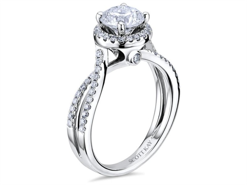 Scott Kay Luminaire Collection | 14K White Gold & Round Diamond Halo Engagement Ring | Style No. 001-742-00439 M1756R310WW