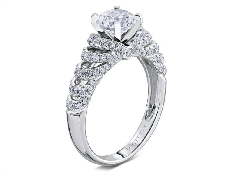 Scott Kay | 14K White Gold Pavé Diamond Setting | Style No. 001-742-00457 M2204R510WW