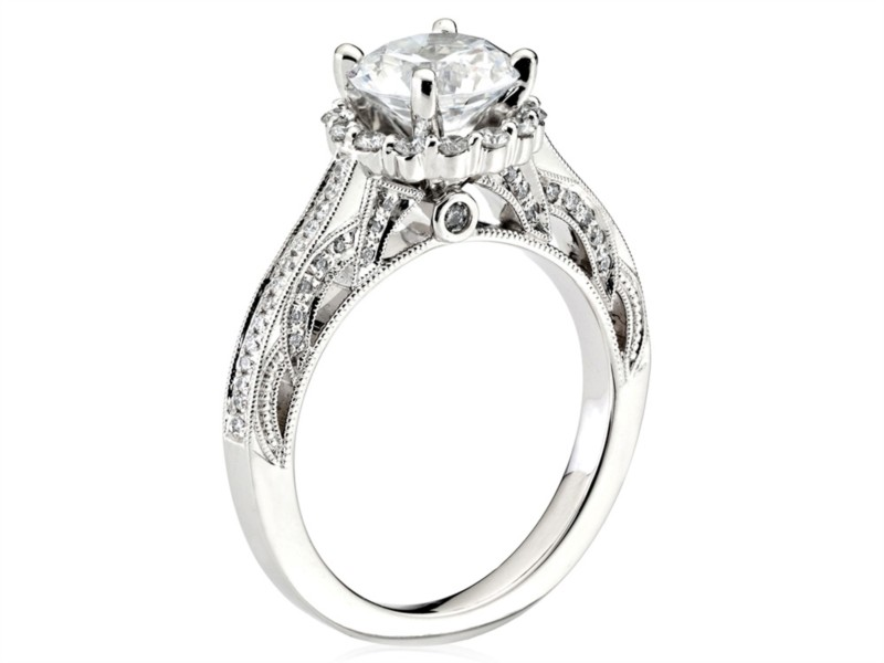 Scott Kay | 14K White Gold Engagement Ring with Diamond Accented Bridge | Style No. 001-742-00525 M2012R515WW