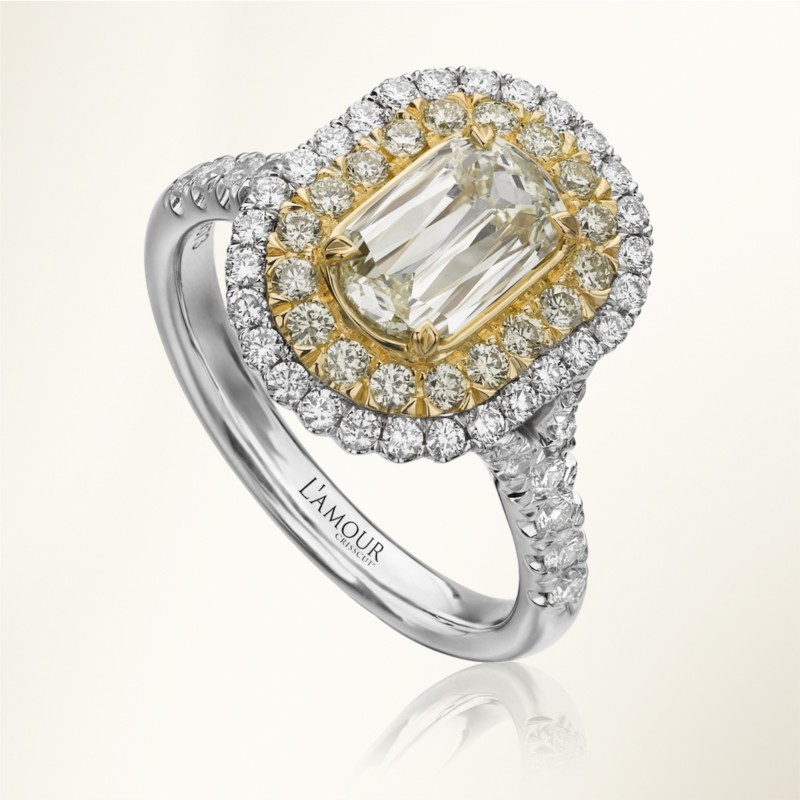Christopher Designs | White & Yellow Gold Halo Diamond Engagement Ring | Style No. 001-751-00006