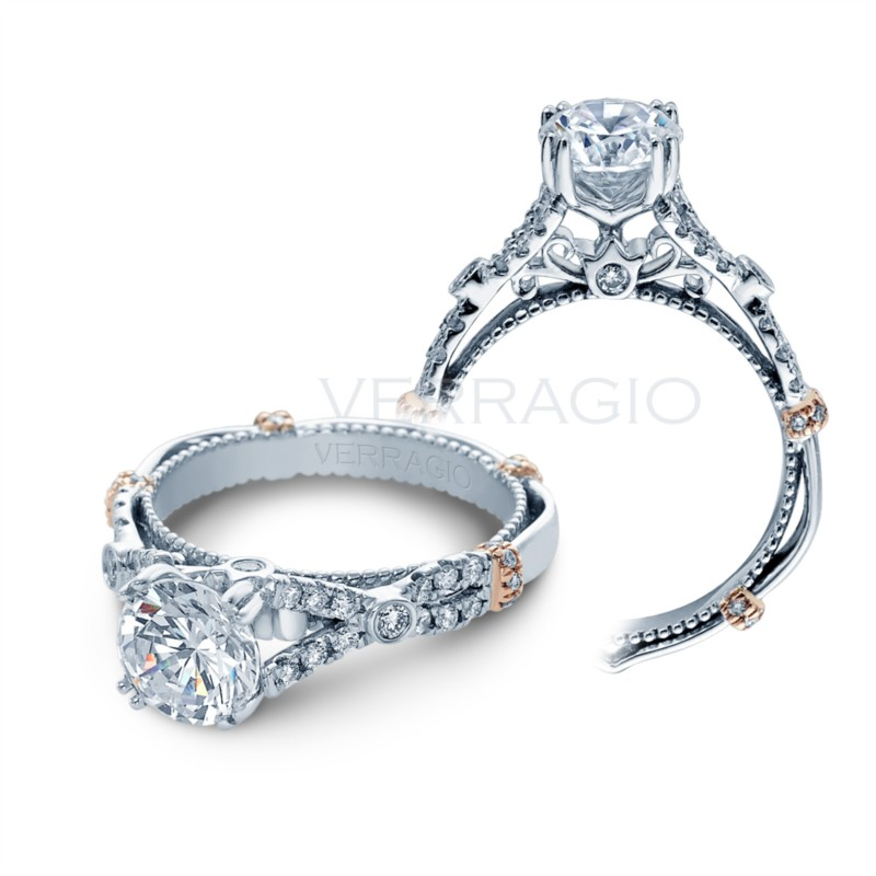 Rose gold accents on white gold Verragio engagement ring D102