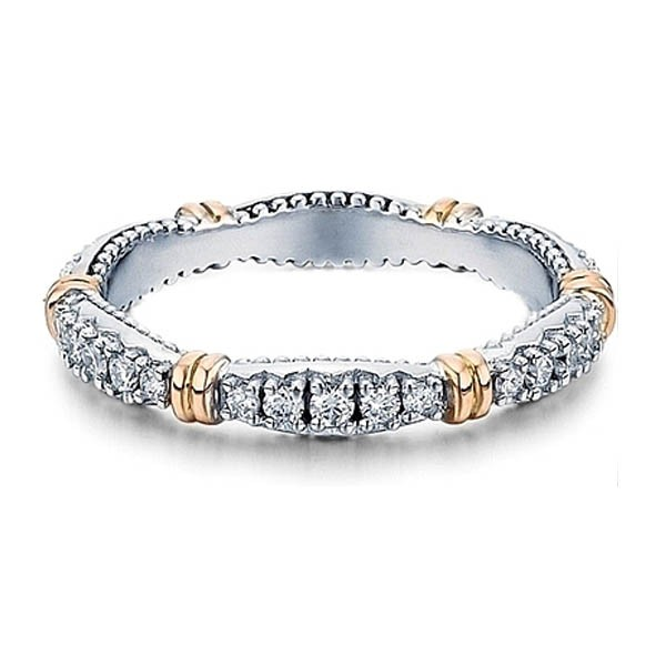 White & Rose Gold Eternity Diamond Wedding Ring