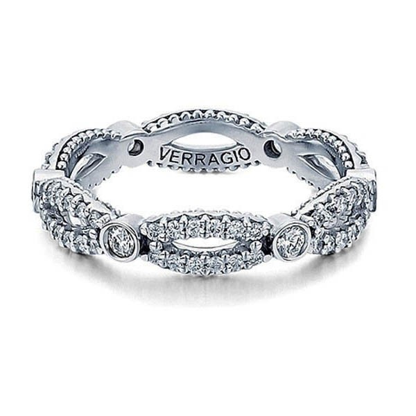 Eternity princess diamond accented Verragio wedding band