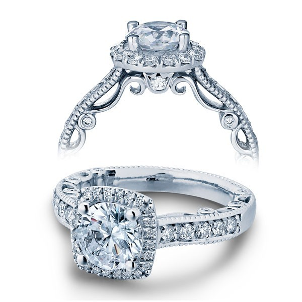 Cushion set Paradiso Verragio diamond engagement ring PAR-3077CU