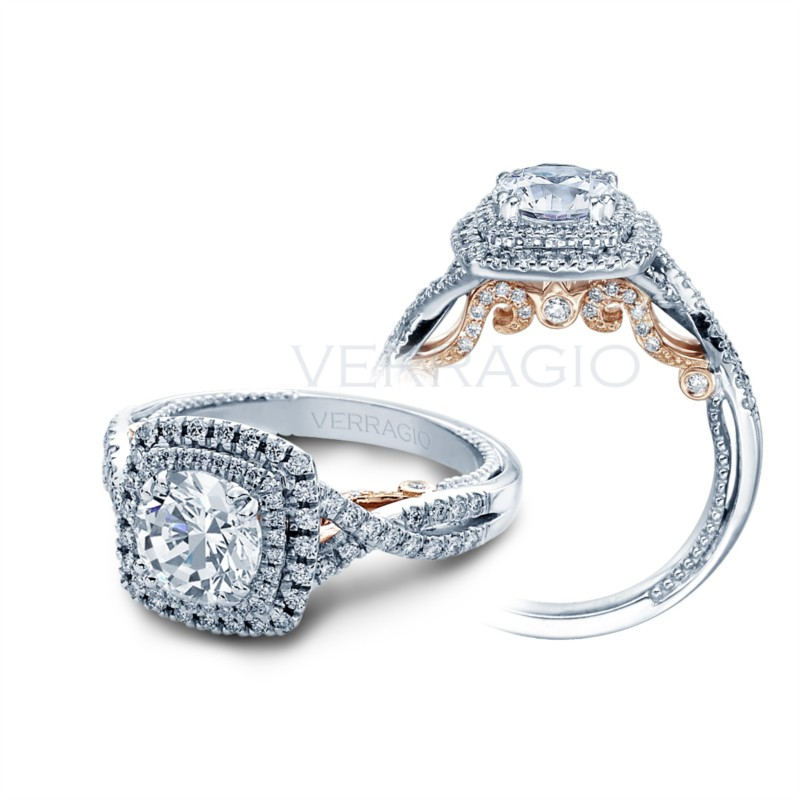 Diamond cushion double halo engagement ring Verragio INS-7084CU