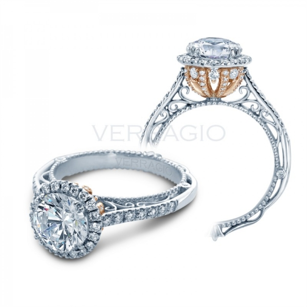 Verragio Halo Ring Setting with Rose Gold Gallery AFN-5060R-4-GL