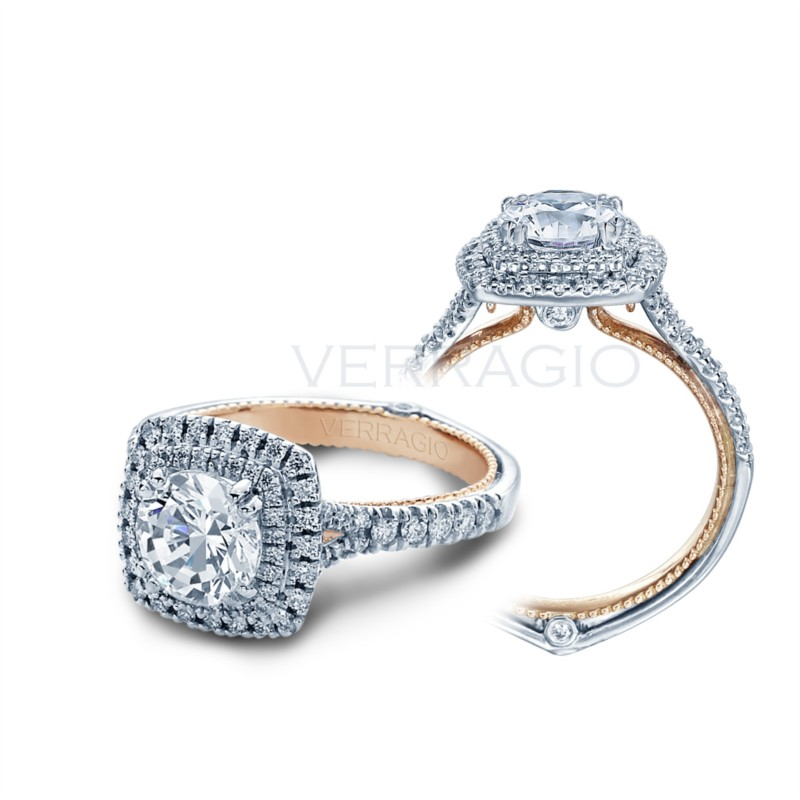 18K White & 20K Rose Gold Double Halo Ring Setting ENG-0425CU-2T