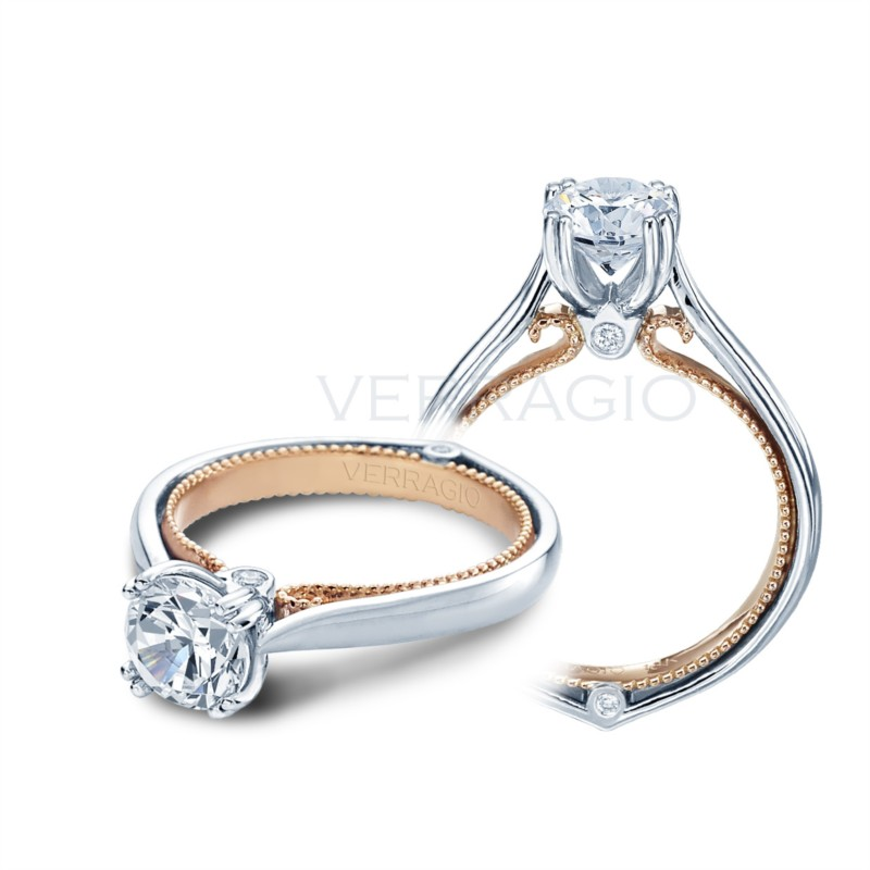 Solitaire engagement ring with rose gold double band ENG-0418R-2T