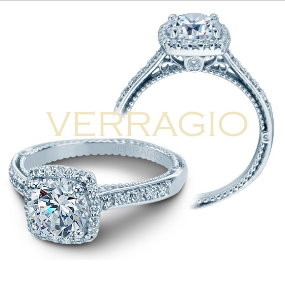Venetian Verragio cushion Diamond Halo ring setting AFN-5042CUD-1