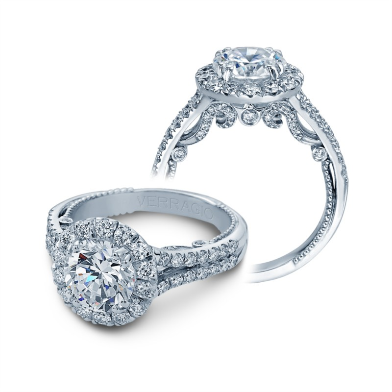 Halo encompassed round diamond center engagement ring