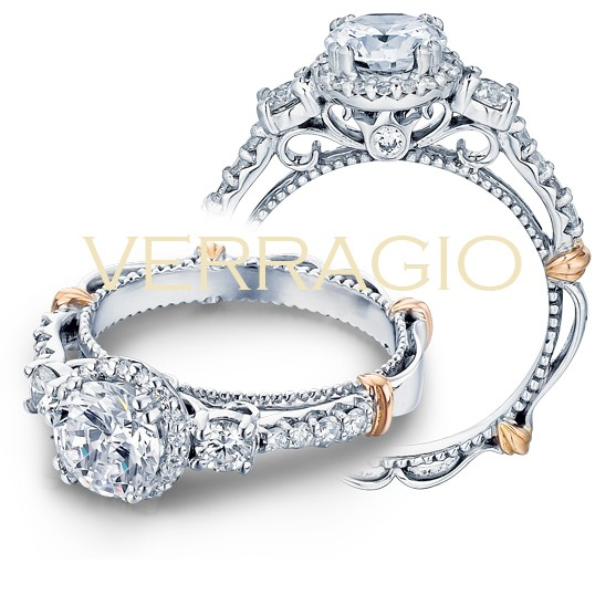 Round diamond center with halo ring setting Verragio D-122R-0-GOLD