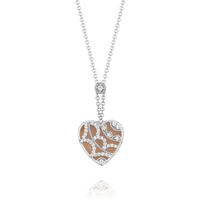Tacori Champagne Sunset Collection | White & Rose Gold Pavéé Filigree Pendant | Style No. 001-760-01908