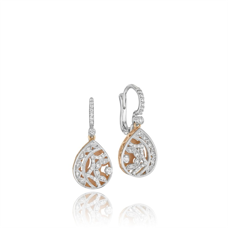 Tacori Champagne Sunset Collection | White & Rose Gold Filigree Earrings | Style No. 001-760-01911