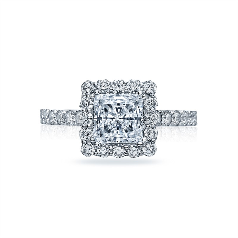 White Gold Halo Diamond Setting for Tacori Dantela Ring 2627RDSMW