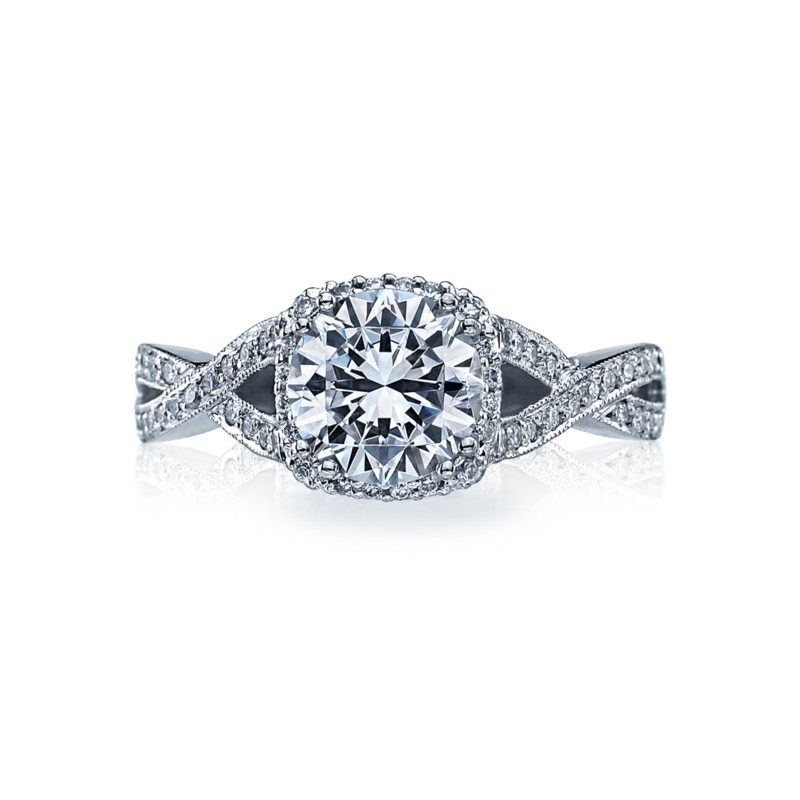 Platinum Pavé Diamond Halo Tacori Ring Setting 2627RDSM