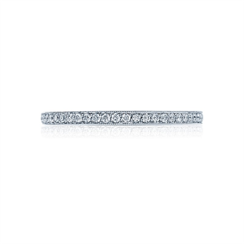 Tacori Simply Tacori Collection | Platinum Padis Jewelry - Milgrain Rings Pavéé Eternity Diamond Ring | Style N