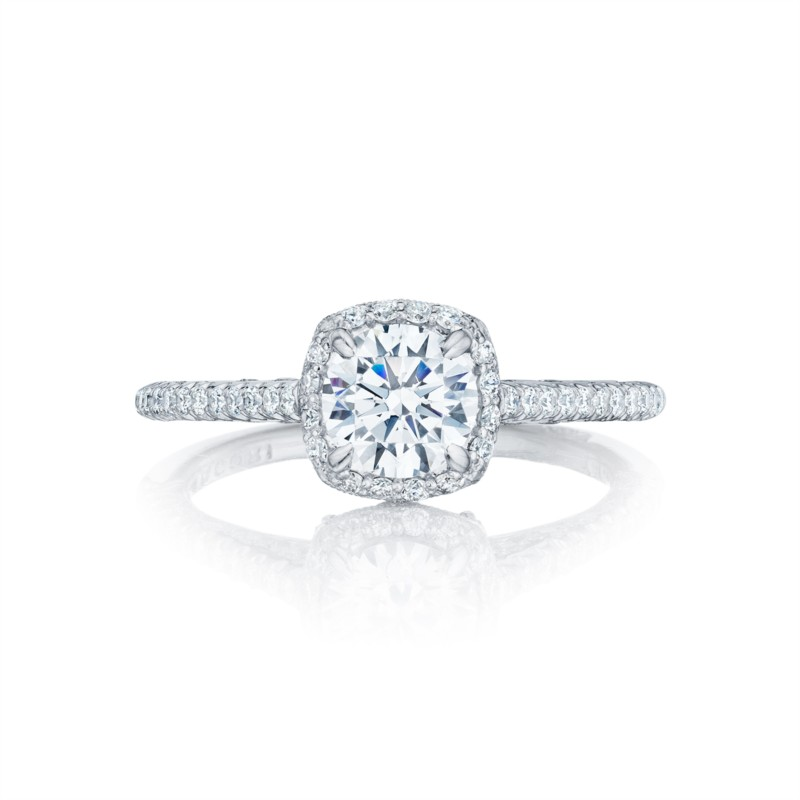 Tacori Petite Crescent Collection | Diamond Halo Engagement Ring Setting | Style No. HT25471.5CU6W