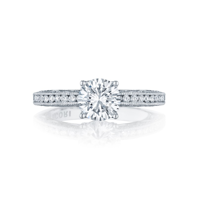 Tacori Classic Crescent Collection | Halo White Gold Setting Engagement Ring | Style No. 001-760-02992 - Tacori