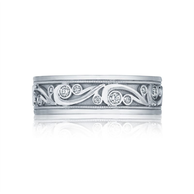 Tacori Sculpted Crescent Collection | 18K White Gold Men's Wedding Band | Style No. 001-760-03006