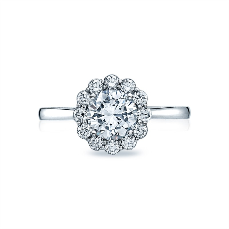 Full Bloom Tapered Engagement Ring Setting