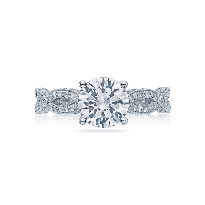 Tacori Ribbon Collection | White Gold Pavé Engagement Ring | Style No. 001-760-03237