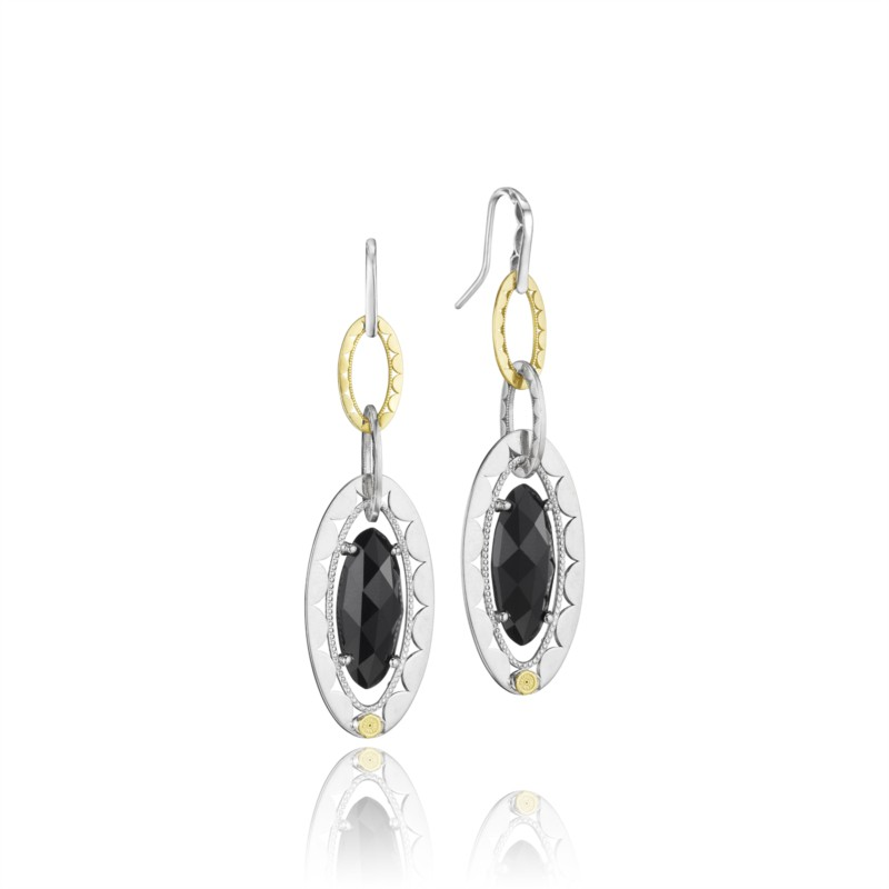 Tacori Black Lightening Collection | Yellow Gold, Sterling Silver & Black Onyx Drop Earrings | Style No. 001-761-00253 SE107Y
