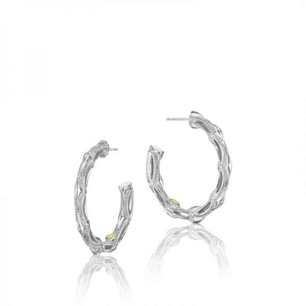 Tacori Classic Rock Collection | Milgrain Crescent Shape Hoop Earrings | Style No. 001-761-00520 SE130