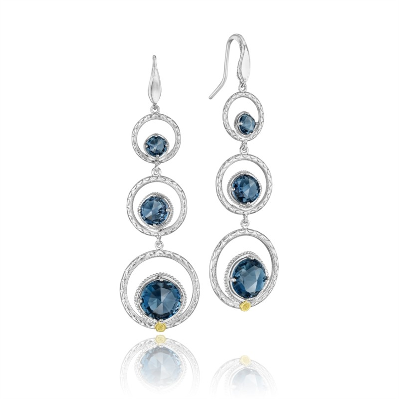 Tacori Island Rains Collection | 18K Yellow Gold & Sterling Silver Earrings with London Blue Topaz | Style No. 001-761-00309