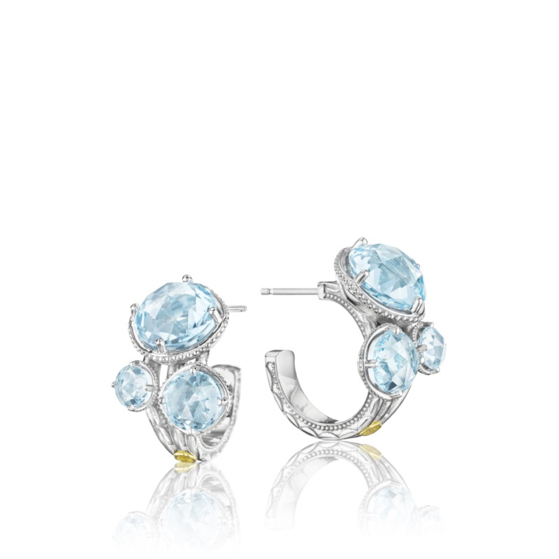 Tacori Island Rains Collection | Yellow Gold & Sterling Silver Earrings with Blue Topaz | Style No. 001-761-00315 SE14502