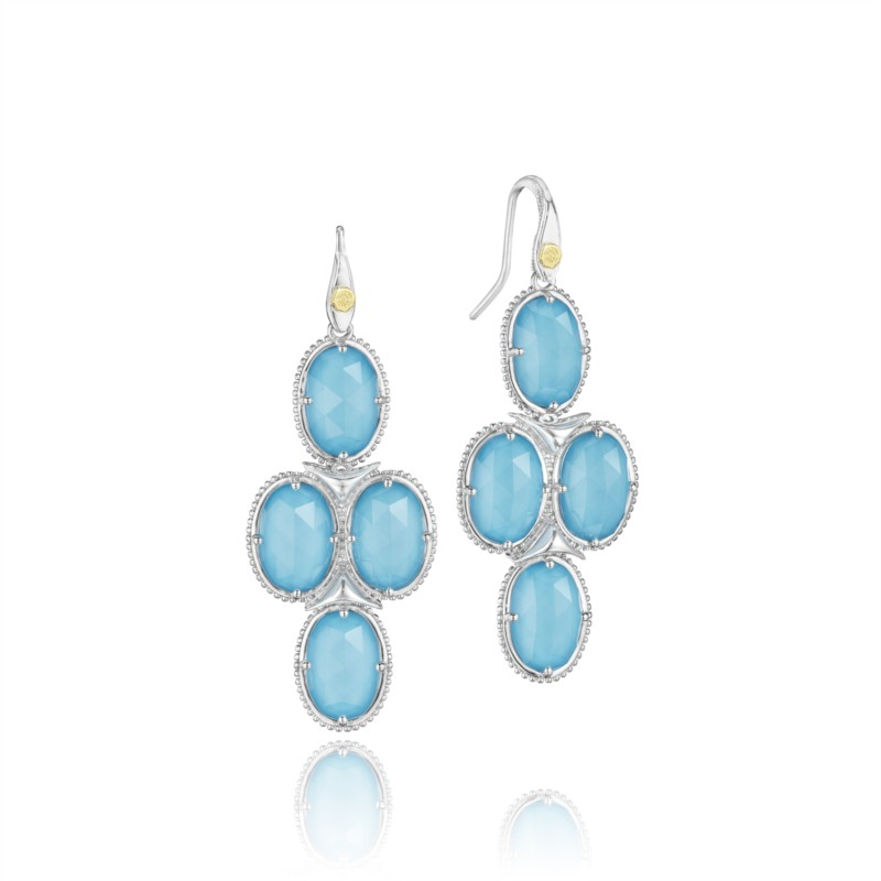 Tacori Island Rains Collection | Sterling Silver Earrings with Clear Quartz over Turquoise | Style No. 001-761-00341 SE15305