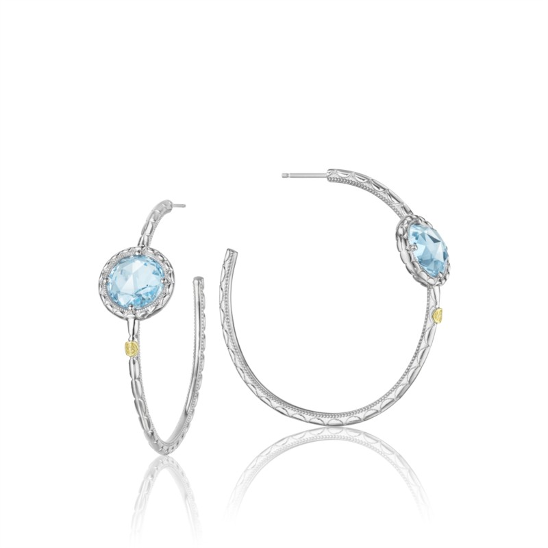 Tacori Island Rains Collection | Yellow Gold, Sterling Silver, & Blue Topaz Earrings | Style No. 001-761-00365 SE15802