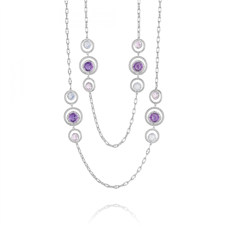 Tacori Lilac Blossoms Collection | Sterling Silver Necklace with Chalcedony, Rose Quartz & Amethyst | Style No. 001-761-00367
