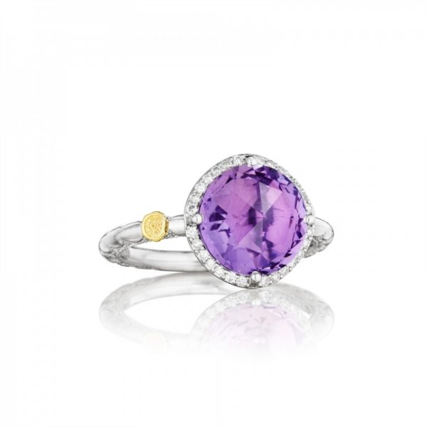 Tacori Lilac Blossoms Collection | Diamond Halo Ring with Purple Amethyst | Style No. 001-761-00387 SR14501