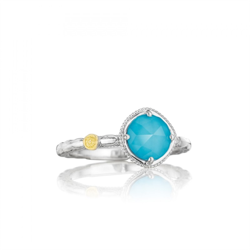 Tacori Island Rains Collection | Turquoise & Quartz Sterling Silver Halo Ring | Style No. 001-761-00476 SR13405