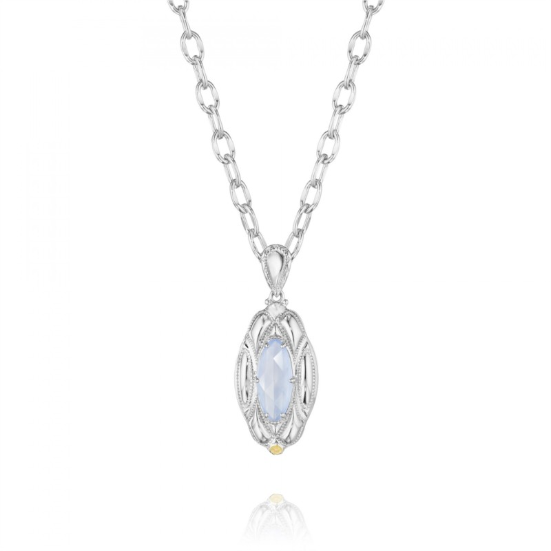 Tacori Classic Rock Collection | Marquise Shaped Quartz over Chalcedony Necklace | Style No. 001-761-00519 SN12926