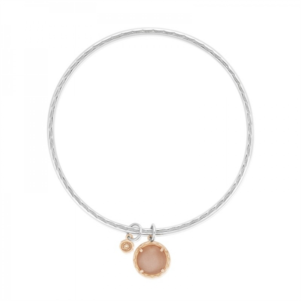 Tacori Moon Rose | 18K Rose Gold and Sterling Silver Bezel Set Peach Moonstone Bangle | Style No. 001-761-00693 SB175P36-M