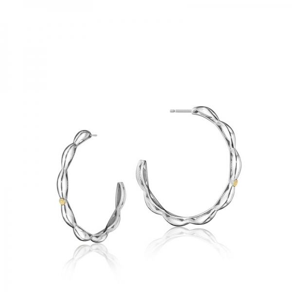 Tacori Ivy Lane Collection | Hoop Earrings with Milgrain Engraved Crescent Pattern | Style No. 001-761-00795 SE198