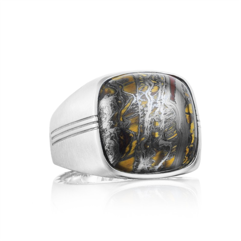 Tacori Legend Collection | Sterling Silver Men's Ring with Tiger Iron | Style No. 001-761-00883 MR10039