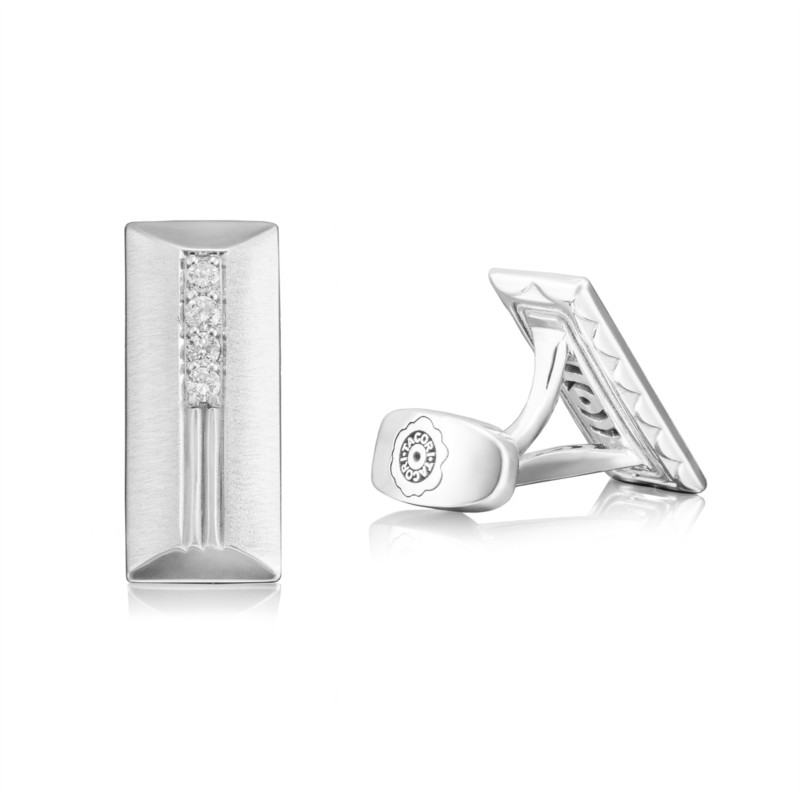 Tacori Retro Classic Collection | Diamond Accents on Sterling Silver Cuff Links | Style No. 001-761-00908 MCL102