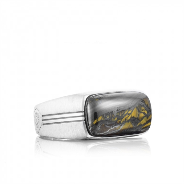 Tacori Legend Collection | Sterling Silver Men's Ring with Tiger Iron | Style No. 001-761-00910 MR10239